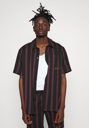STRIPED REGULAR COLLAR - Shirt - black