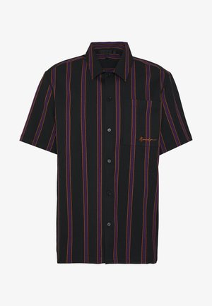 STRIPED REGULAR COLLAR - Shirt - black