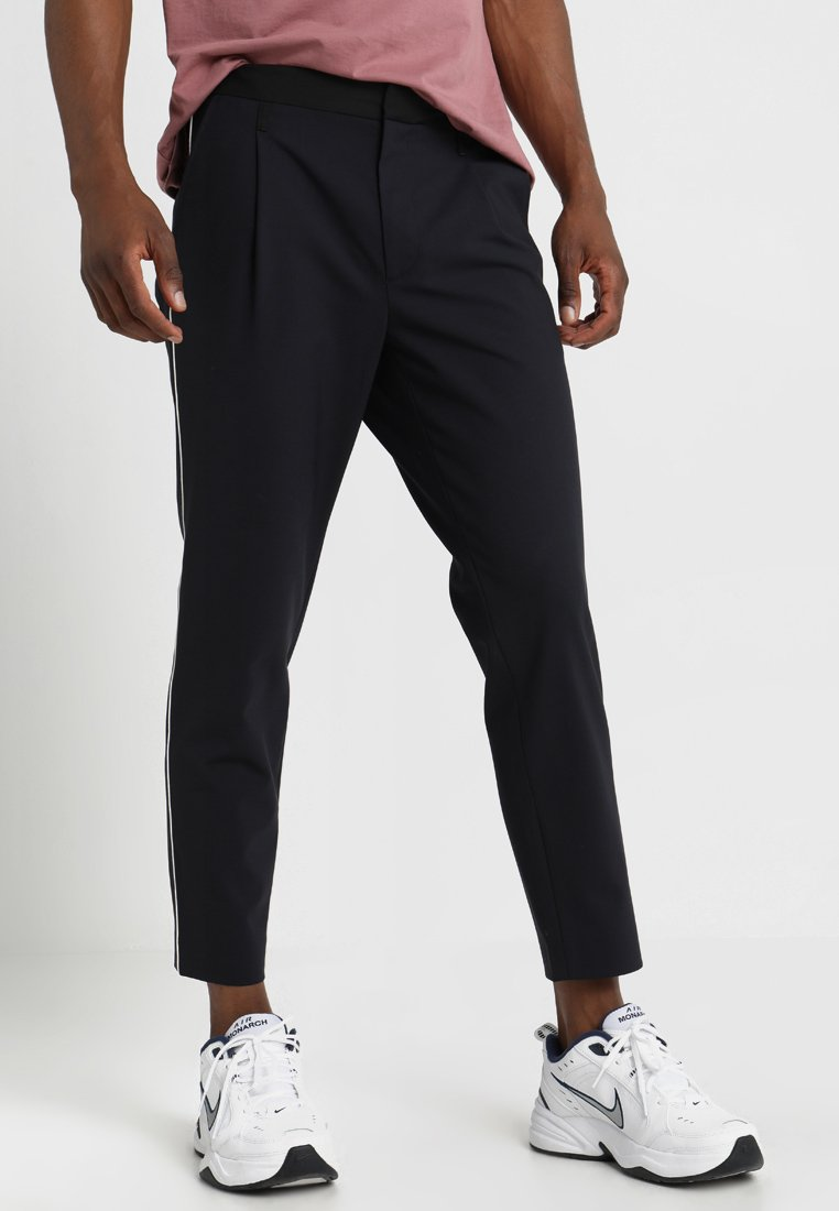 Mennace - SIDE PIPED SLIM TAPER  - Trousers - navy