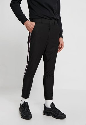 SLIM TAPERED TROUSER WITH SIDE TAPE - Bukse - black