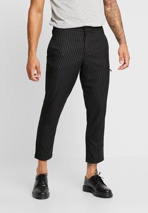 TECH ZIP PINSTRIPE - Cargo trousers - black