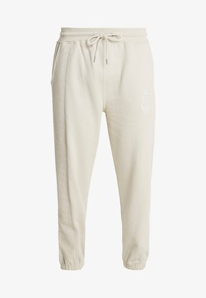 CONTRAST TEXTURE COLLEGE - Tracksuit bottoms - beige