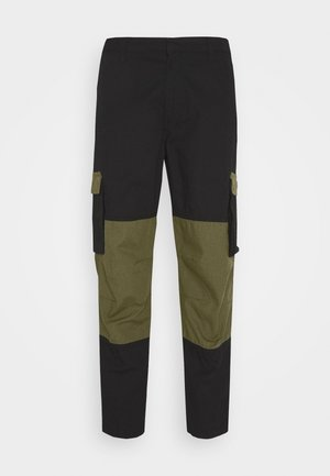 UTILITY MIXED TROUSERS - Cargo trousers - black