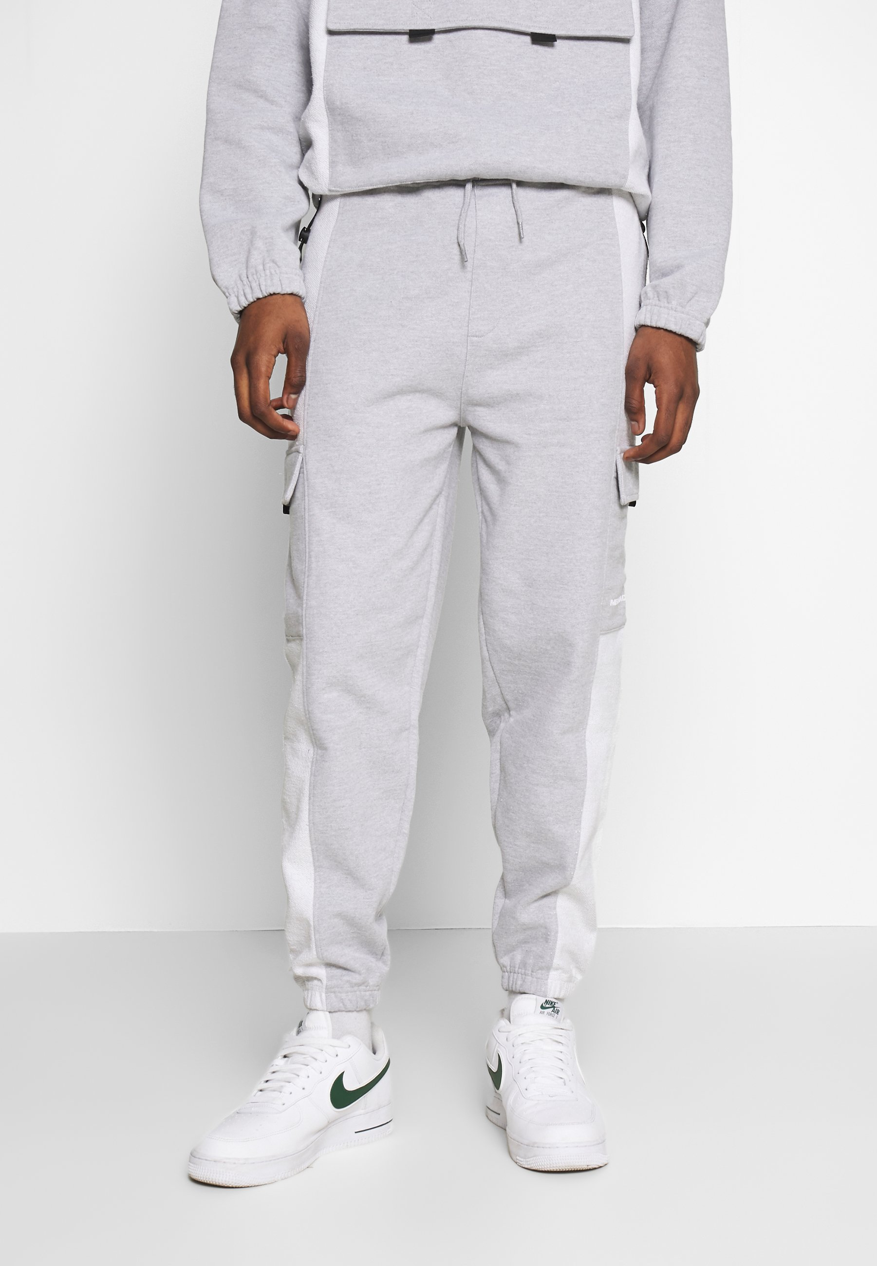 Mennace Loopback Panel Pocket Utility Jogger - Tracksuit Bottoms Grey Marl