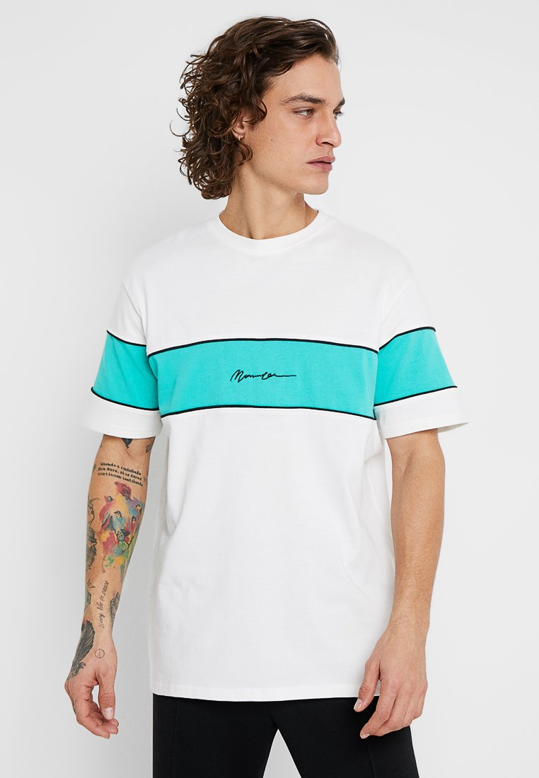 Mennace - PANELLED TEE - Print T-shirt - off white