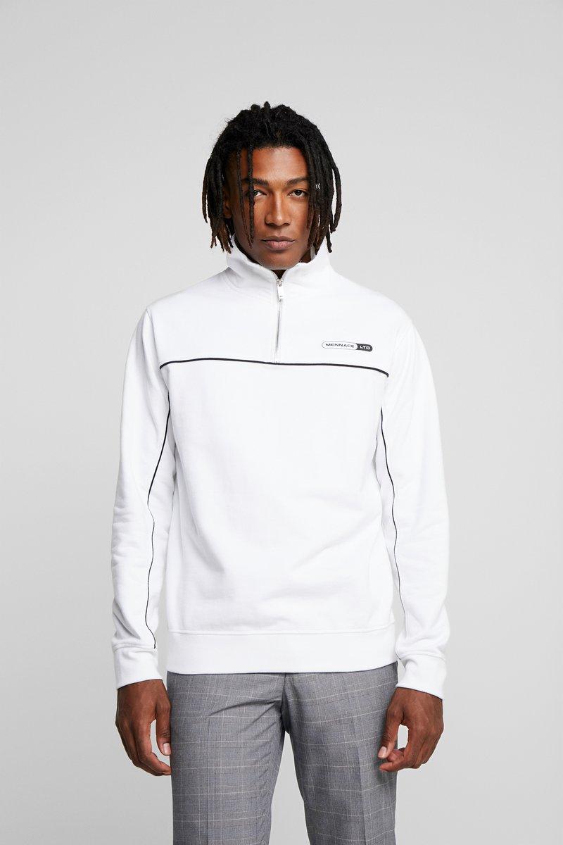 Mennace - HALF ZIP FUNNEL WITH PIPING AND BRANDING - Sweatshirt - white