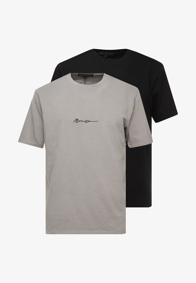 2 PACK - T-shirt z nadrukiem - black/grey
