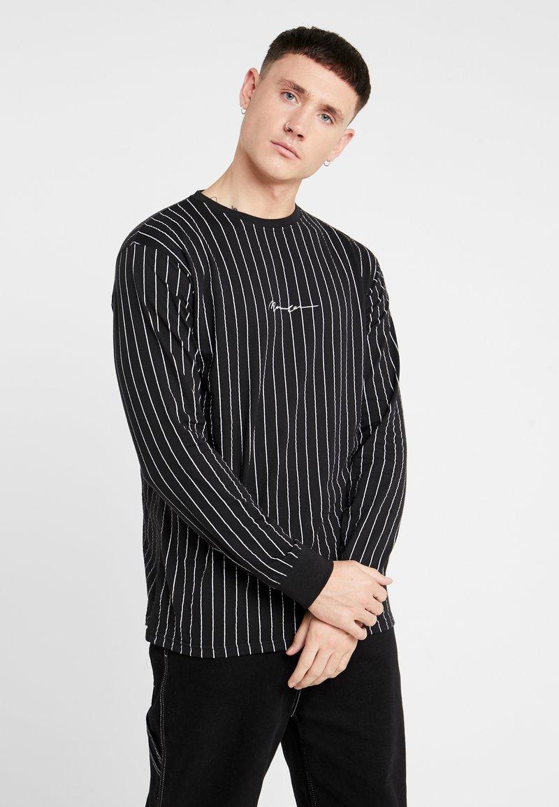 Mennace - LONG SLEEVE STRIPED - Long sleeved top - black