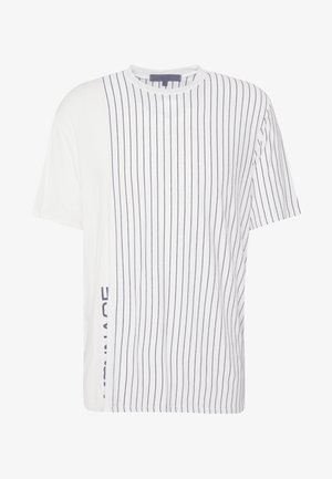 UNISEX VERTICAL STRIPE SIDE PRINT - T-shirt z nadrukiem - white