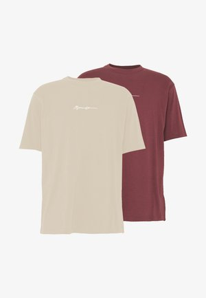 ESSENTIAL SIGNATURE TEE 2 PACK - Jednoduché triko - wine/nude