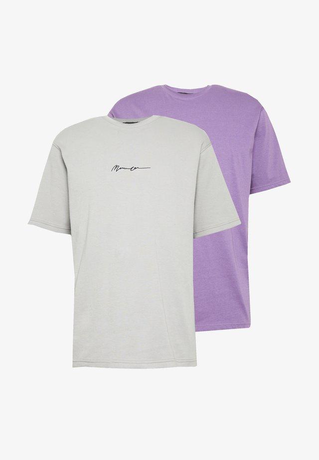 ESSENTIAL SIGNATURE TEE 2 PACK - T-shirt basic - purple/slate