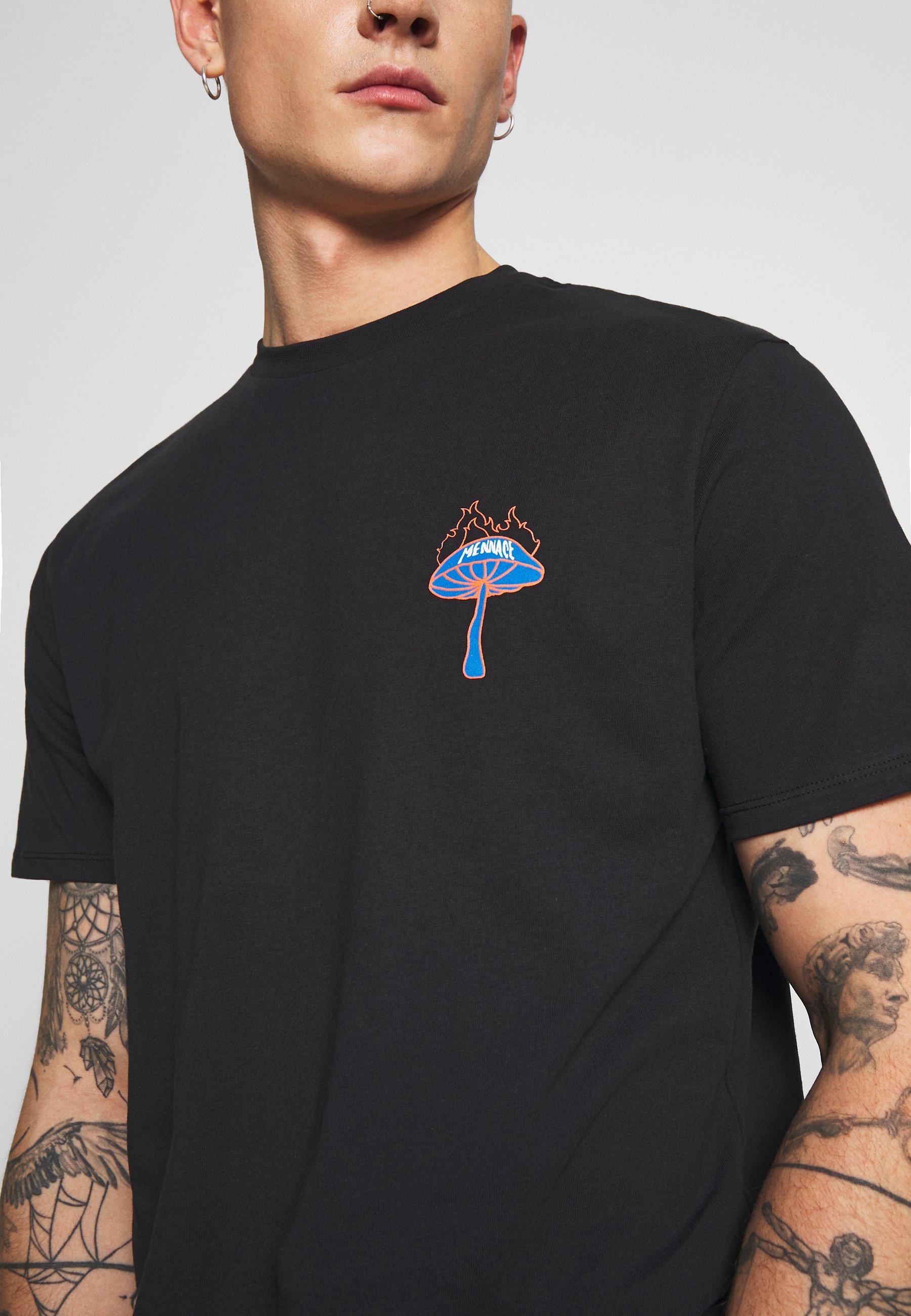 Mennace SHROOM TEE - T-shirt z nadrukiem - black