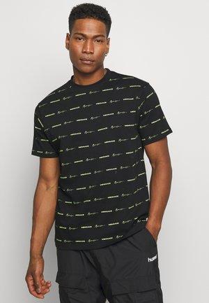 HORIZONTAL BRANDED STRIPE  - Print T-shirt - black