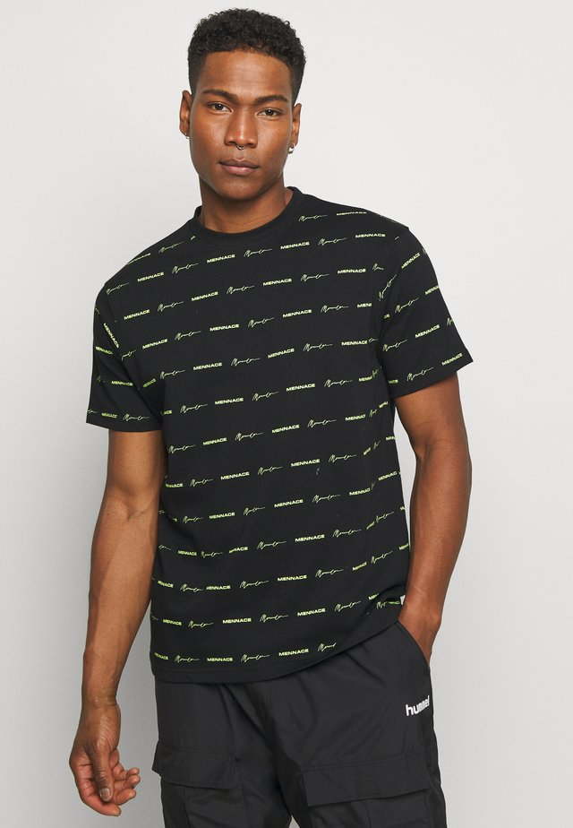 HORIZONTAL BRANDED STRIPE  - Print T-shirt - black