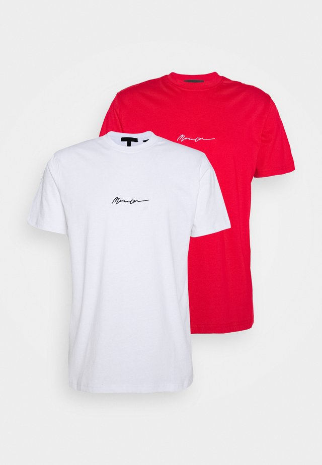 ESSENTIAL SIGNATURE 2 PACK - T-shirts - red/white