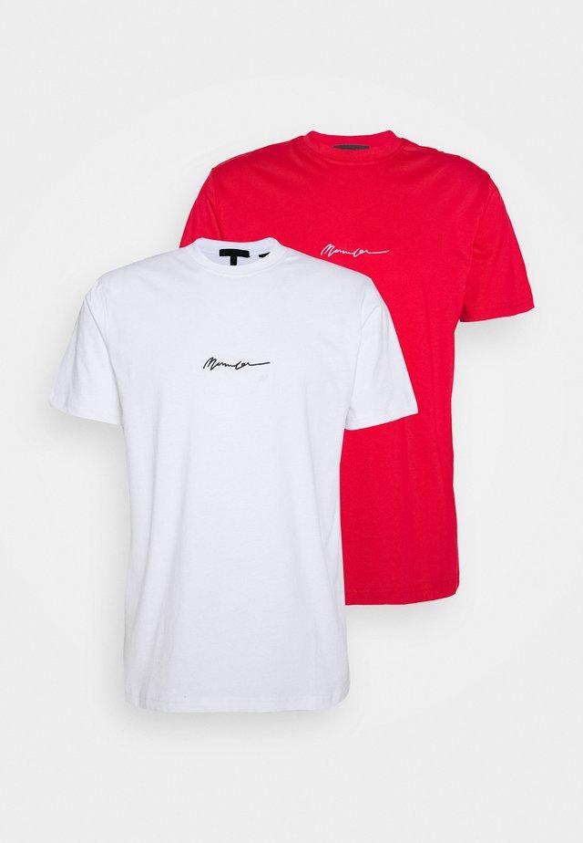 ESSENTIAL SIGNATURE 2 PACK - Jednoduché triko - red/white