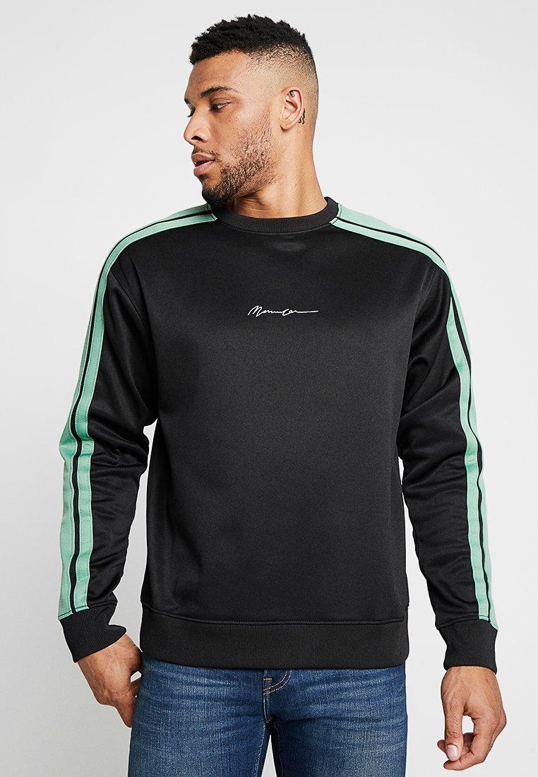 Mennace - SIDE STRIPE TRICOT - Sweatshirt - black/green