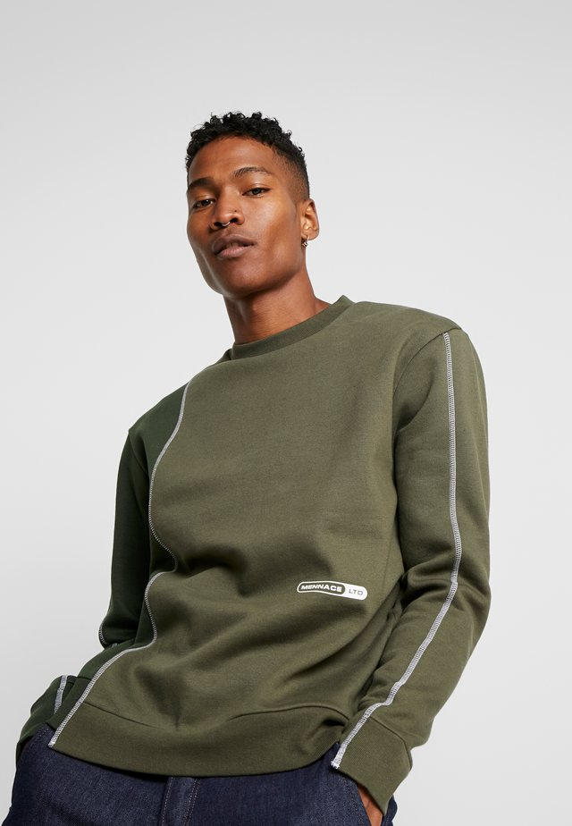CONTRAST TEXTURE PIPING - Sweatshirt - khaki