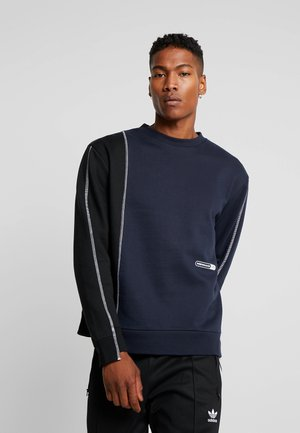CONTRAST TEXTURE PIPING - Sweater - navy