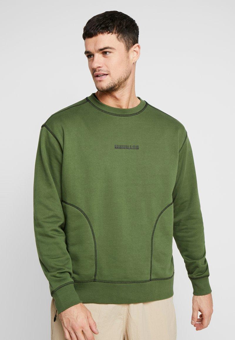 Mennace - CONTRAST OVERLOCK - Sweatshirt - khaki