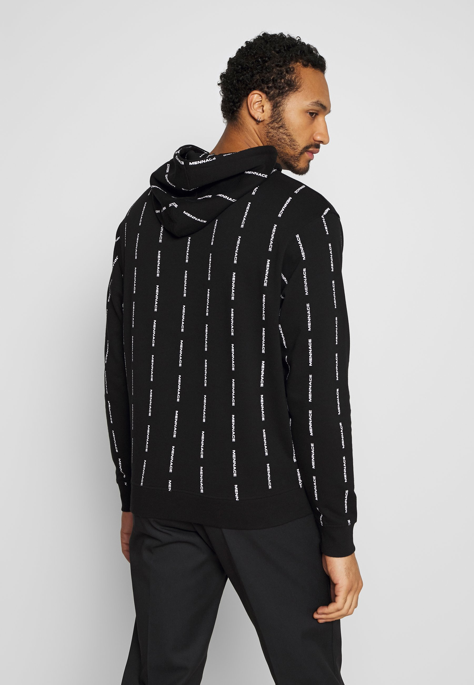 Mennace VERTICAL BRANDED STRIPE HOODIE - Bluza z kapturem - black