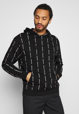 VERTICAL BRANDED STRIPE HOODIE - Hoodie - black