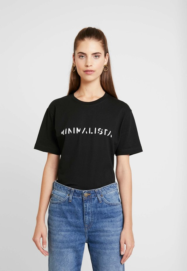 LADIES MINIMALISTA TEE - T-shirt z nadrukiem - black