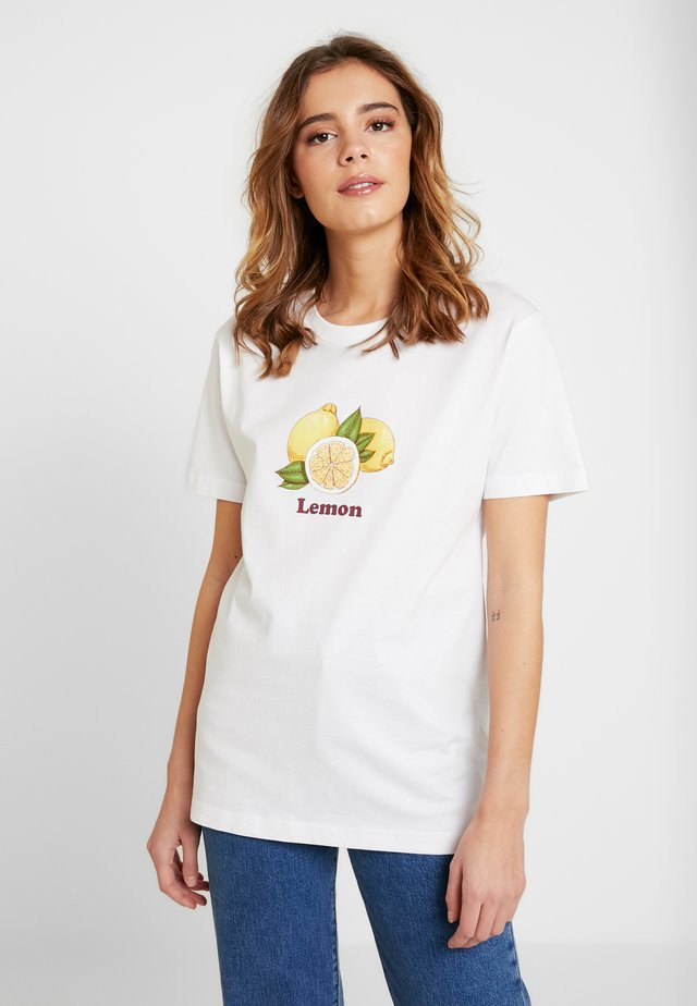 LADIES LEMON TEE - T-shirt z nadrukiem - white