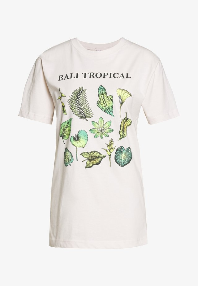 LADIES BALI TROPICAL TEE - Printtipaita - beige