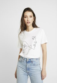 Merchcode - LADIES ONE LINE TEE - T-shirts med print - white - 0