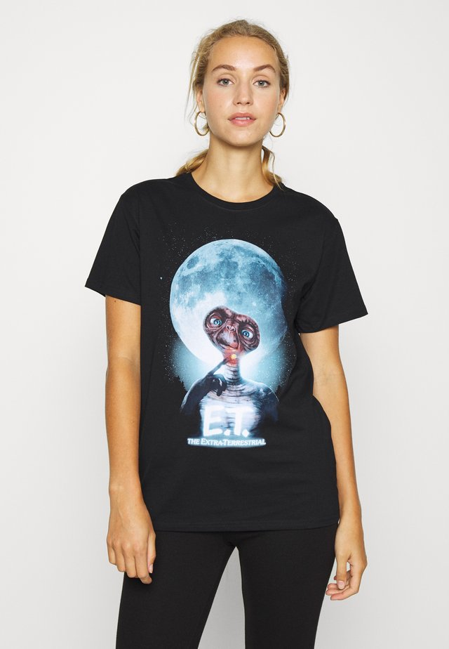 LADIES E. T. FACE TEE - T-shirt z nadrukiem - black