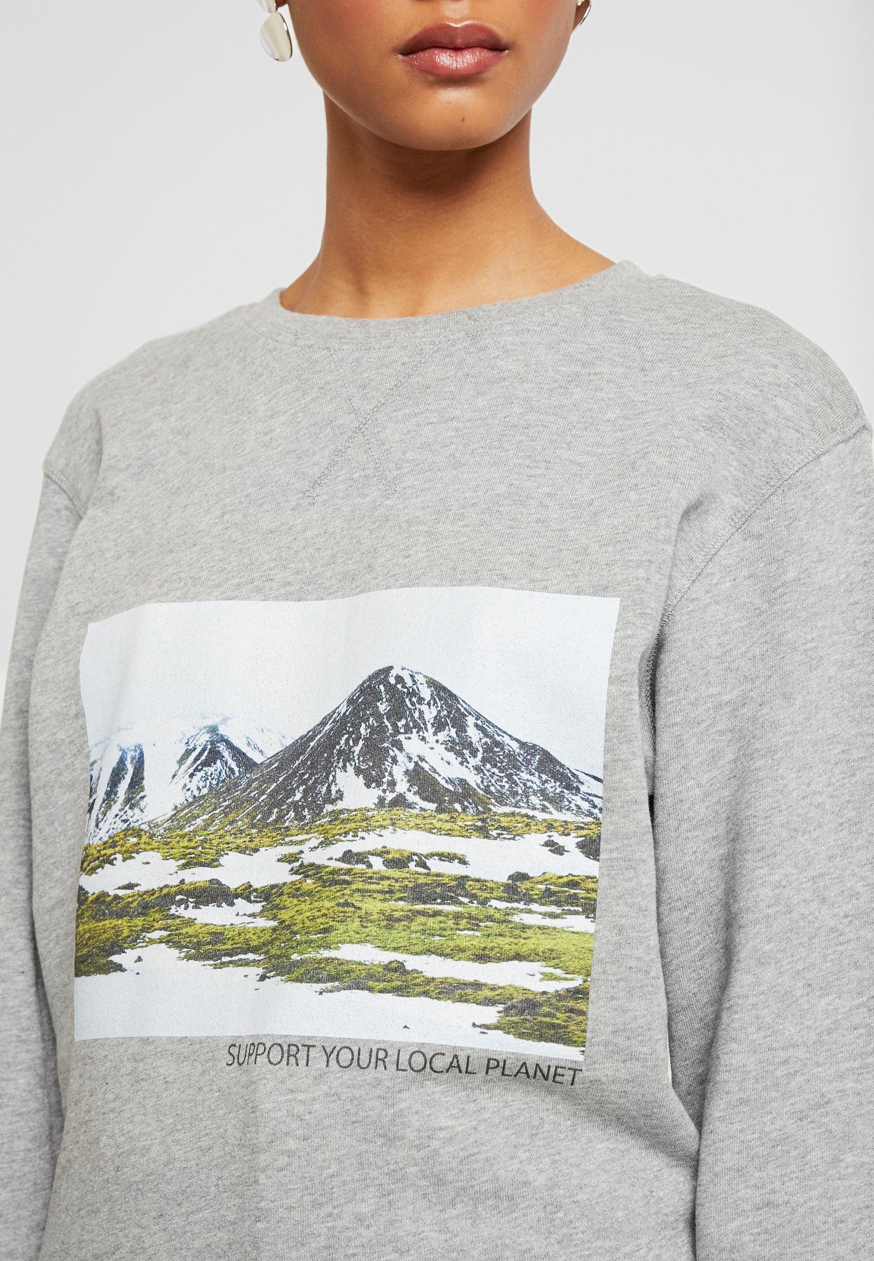 Merchcode LADIES SUPPORT YOUR LOCAL PLANET CREWNECK - Sweatshirt - heathergrey