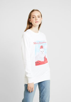 LADIES MERRY CHRISTMAS CAT CREWNECK - Mikina - white