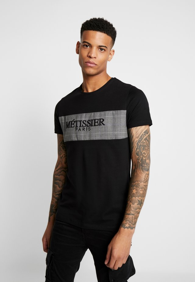 CHECK PANEL - T-shirts print - black