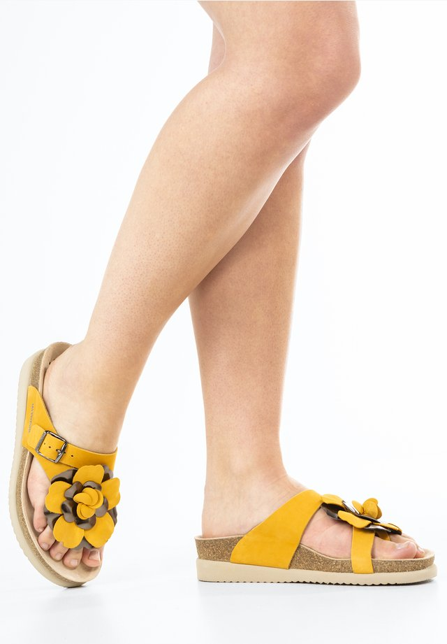 T-bar sandals - ochre