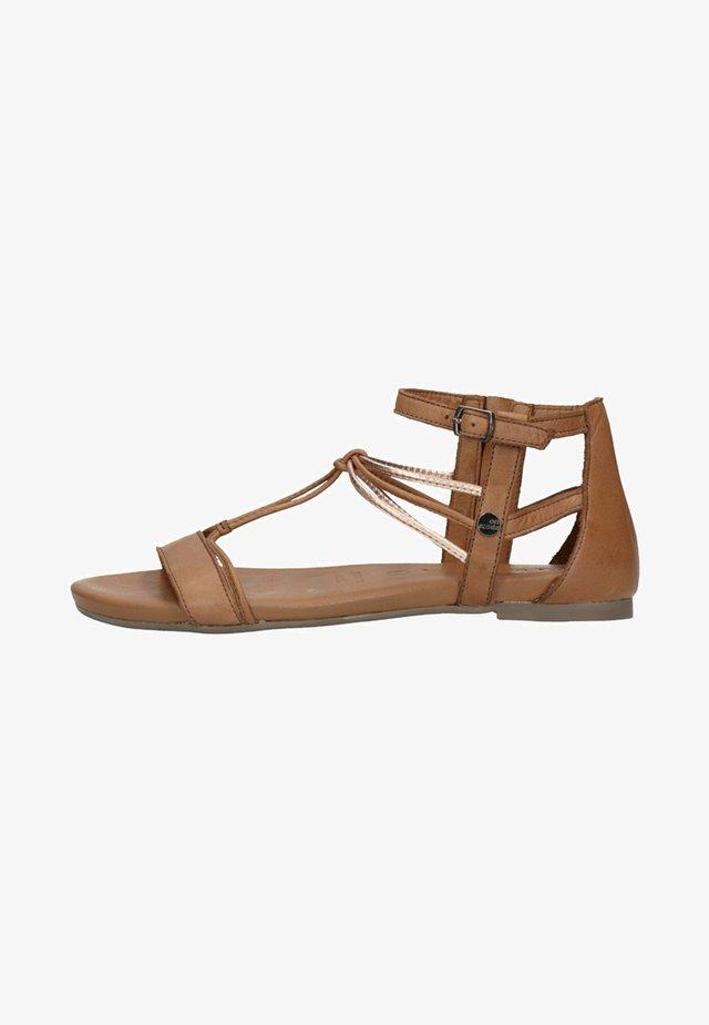 Sandalen met enkelbandjes - cognac