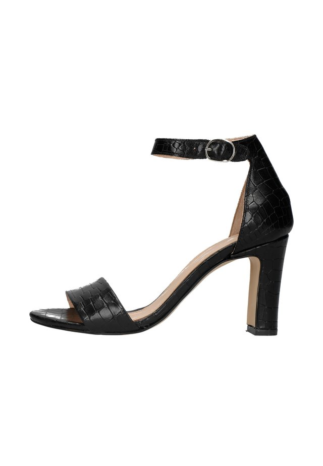 MIT KROKOMUSTER - High heeled sandals - schwarz
