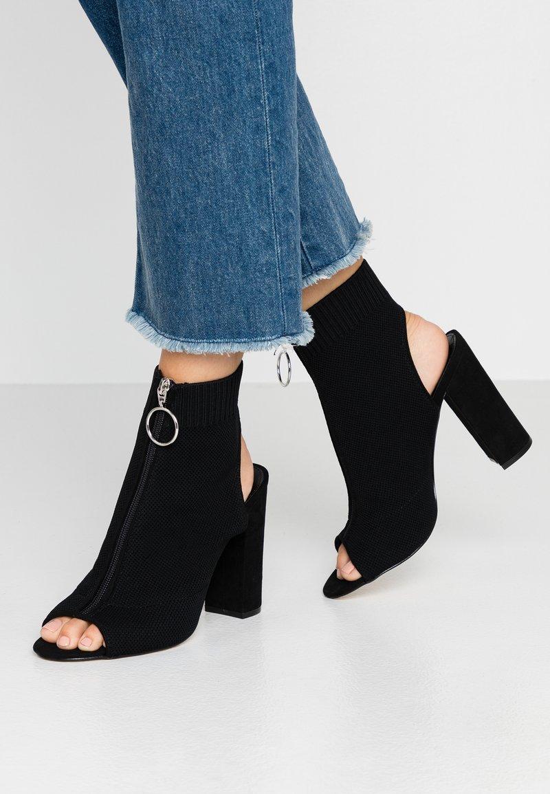 Miss Selfridge - KNITTED - High heeled sandals - black