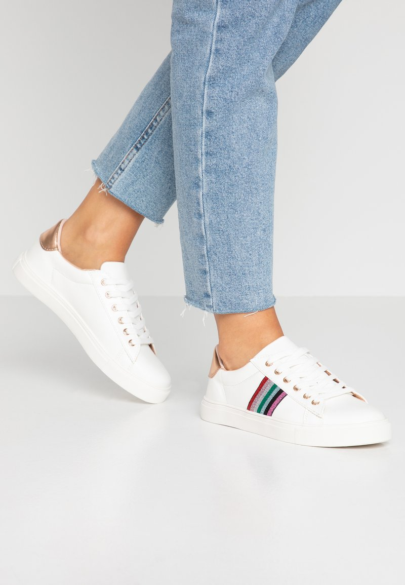 Miss Selfridge - STRIPE SIDE LACE UP - Zapatillas - white