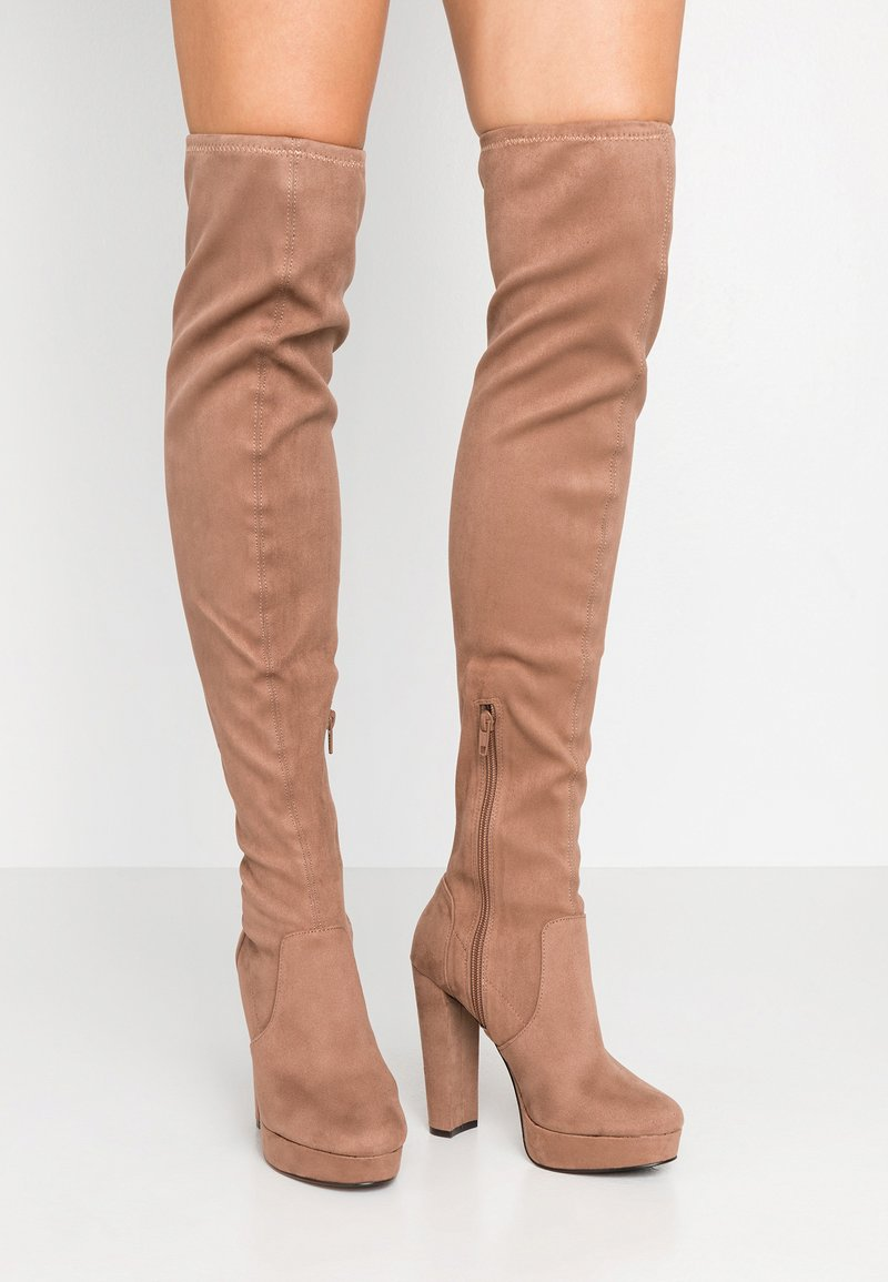 Miss Selfridge - PLATFORM STRETCH HIGH - High heeled boots - camel