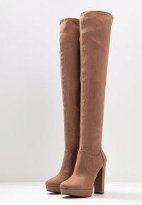 Miss Selfridge - PLATFORM STRETCH HIGH - High heeled boots - camel - 4