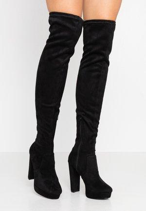 PLATFORM STRETCH HIGH - Laarzen met hoge hak - black