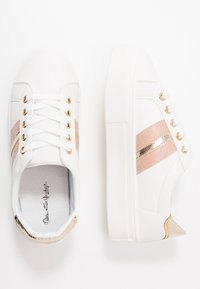 Miss Selfridge - TOVA FLATFORM LACE UP - Sneakers - white/gold - 3