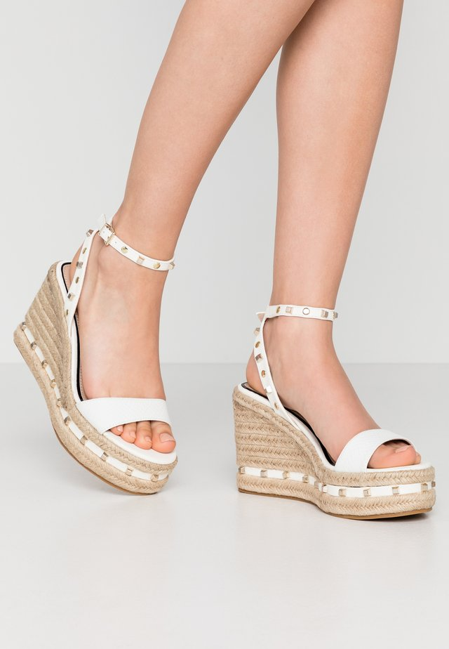 WHIZZER STUDDED SQUARE TOE WEDGE - High heeled sandals - white