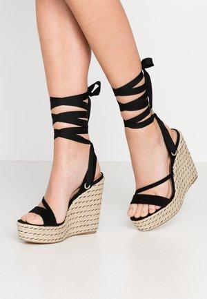 WRAP WEDGE - High heeled sandals - black