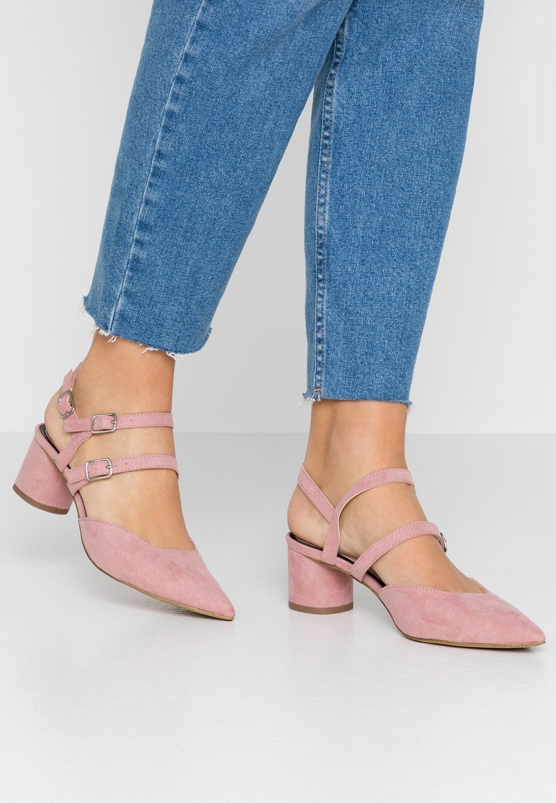 Miss Selfridge - DOUBLE STRAP LOW COURT - Classic heels - pink