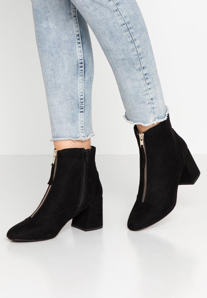Miss Selfridge - ZIP FRONT BLOCK HEEL - Ankle boots - black