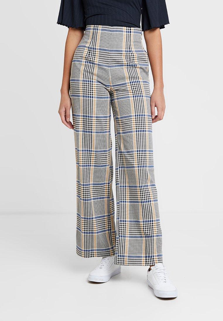 Miss Selfridge - CHECK CORSET WIDE LEG TROUSER - Trousers - blue