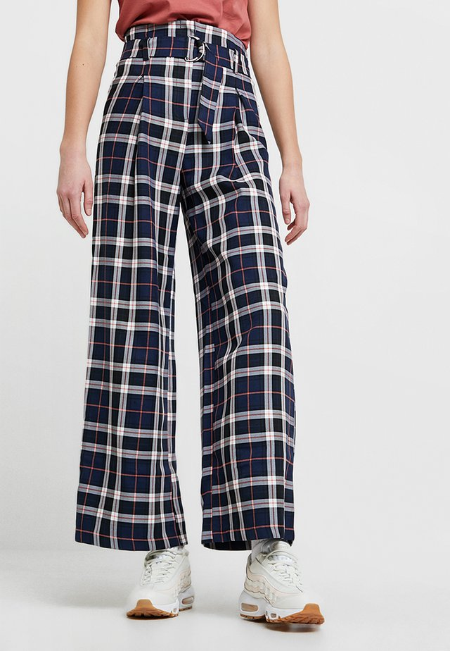 BLUE CHECK BELTED WIDE LEG TROUSER - Trousers - blue
