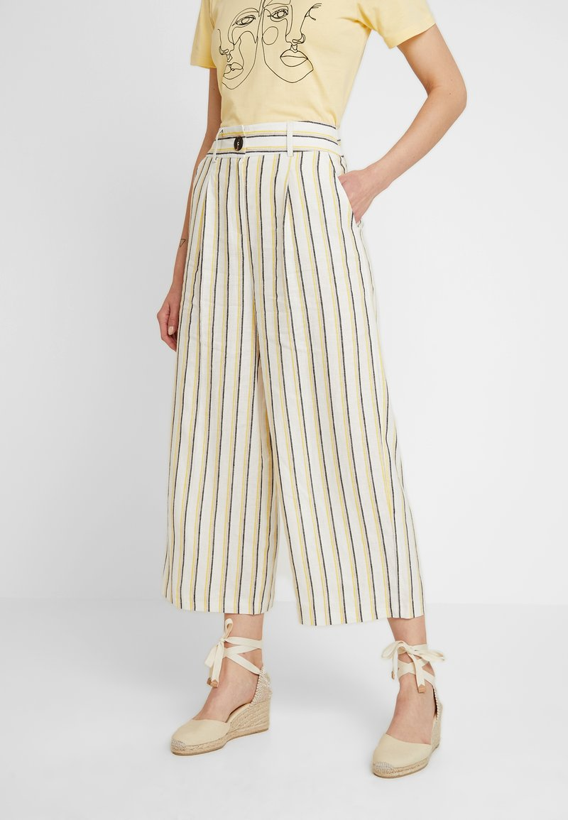 Miss Selfridge - HARPER STRIPE WIDE GRAZER - Trousers - yellow/blue/ivory